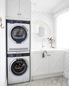 Weekend washing 🧺 chance I'll wash and fold 3 loads today. chance they'll get put away before next weekend 😬 Washer and dryer… Laundry Bathroom Combo, Small Bathroom, Bathrooms, Laundry Dryer, Small Laundry, Three Birds Renovations, Wash And Fold, Stackable Washer And Dryer, Stacked Washer Dryer