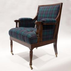 Our SMW Home Classic Blackwatch Tartan paired beautifully with a vintage Baker Furniture frame. Vintage hardwood frame upholstered in SMW Home's Wool Blac Green Room Colors, Green Rooms, Tartan Chair, House In The Woods, Living Room Chairs, Dark Wood, Cottage Style, Master Bedroom, Accent Chairs