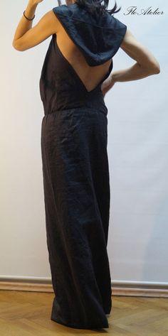 552d6a3949e Summer Dress Long Linen Dress  Long Casual Dress Black Linen Dress  Beach  Dress Dress with Naked Back Hooded Dress F1434