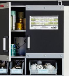 Clever Cabinet Solution for special items that need to be recycled: CFL bulbs, batteries etc.