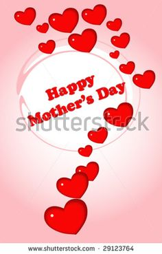 Mothers Day greeting card with hearts by MilaCroft, via ShutterStock