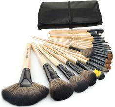Barato Novo 24 pcs maquiagem profissional Kit escova Makeup Brushes conjuntos Cosmetic Brushes & & boa qualidade PU bolsa de couro, Compro Qualidade Pincéis de maquiagen & acessórios diretamente de fornecedores da China: principais características:peso: 0tamanho saco: 24.5*15cm( dobrado), 58.5*23.6cm( desdobrado)cabo da escova de cor: made