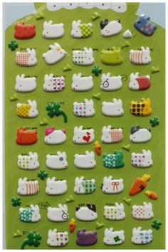 Cute Bunny Rabbit Gel Sticker Set Deco Puffy Sticker by CharmTape, $1.85
