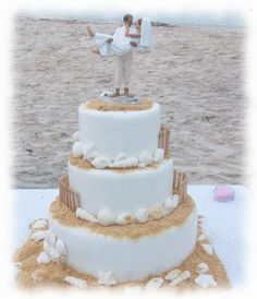 """For Beach Wedding. What I love about this cake is that you can do the decor your self... But a simple 3 tier buttercream wedding cake via Walmart... $129.00 Then add brown sugar to the places you want """"sand"""", add your own sea shells and your own cake topper. For the fence?? Micheal's or hobby lobby... go to the doll house section and buy the fence."""