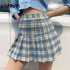 Blue Plaid Skirt, Plaid Pleated Mini Skirt, Mini Skirt Style, Checkered Skirt, Plaid Skirts, Pleated Skirt Outfit Short, Preppy Mode, Preppy Style, Cute Skirts