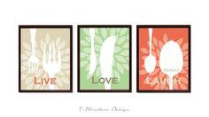 Modern Kitchen Art Print Set -Live Love Laugh Repeat - Set of (3)  Prints - Tan, Celery, Coral // Modern Kitchen Art Decor on Etsy, $21.00