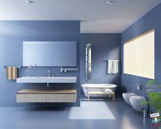 Este es el baño del plano bajo. Es todo de color azul. En frente hay un espejo, un lavamanos y una toalla. Detrás hay la bañera con una ducha para bañarse y relajarse, y algunas toallas para secarse. Al lado se encuentra el inodoro y el bidé; sobre el inodoro y el bidé se encuentra una grande ventana.