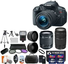 Canon EOS Rebel T5i 18.0 MP CMOS Digital Camera SLR Kit With Canon EF-S 18-55mm IS STM + Canon 75-300mm III Lens + Wide-Angle Lens + Telephoto Lens + 8GB and 16GB Card + Card Reader + Case + Battery + Flash + Tripod + Remote + 58mm Filter Kit - 24GB Deluxe Accessories Bundle. Kit Includes 20 Products -- All Brand New with Manufacturer supplied accessories, and Warranty:. Canon EOS Rebel T5i Digital Camera SLR Kit With Canon EF-S 18-55mm IS STM and Canon 75-300mm III Zoom Lens + Wide Angle...