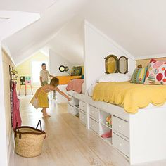 9 Small Attic Rooms That Work Roundup | Apartment Therapy or make one large bed across the whole side