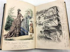 For sale 1876 Journal des Demoiselles - French Victorian era fashion magazine. Complete with 9 hand coloured fashion plates. More complete years available for sale. Victorian Era Fashion, Fashion Plates, Hand Coloring, Colorful Fashion, Magazine, Womens Fashion, Painting, Greeting Cards, Journal