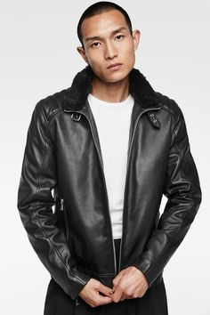 547f546a36 COMBINED LEATHER JACKET. Leather Jacket