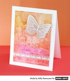 "Hero Arts Cardmaking Idea: Hello Butterfly-""Create a pallet of color on a craft sheet or acrylic block with Daubers. Spritz with water and paint background on watercolor paper."""