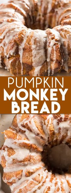 Pumpkin Monkey Bread The classic pull apart monkey bread is given a twist of fall pumpkin spice flavor! Still super easy to make with refrigerator biscuits packed with pumpkin flavor and topped with a decadent cinnamon glaze! Köstliche Desserts, Delicious Desserts, Dessert Recipes, Yummy Food, Plated Desserts, Easy Fall Desserts, Dessert Bread, Holiday Desserts, Christmas Recipes