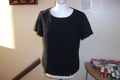Ladies Black Blouse / Top Back & Side Fastening Ideal for Receptionist 16 or 20