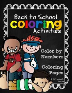 Color-by-Number & Coloring Pages, Back-to-School Theme. Pre-K to 1st. from Kimberly's Kindergarten on TeachersNotebook.com -  (18 pages)  - This packet includes 6 color-by-numbers with a kid-friendly back-to-school theme and coloring pages in boy and girl versions for Pre-K to First Grade.