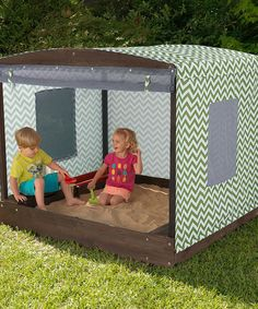 Such a great sandbox with shade and bug screen! $199.99 instead of $320!  #zulily! Fun in the Sun Cabana Sandbox #zulilyfinds