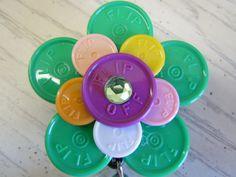 Medicine  flip off vial caps /Flower design ID badge holders