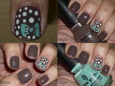 bow and polk a dot nail art design