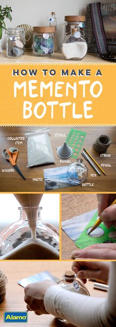 Learn how to make a memento bottle using souvenirs from your vacation.
