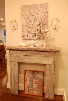Faux mantel built from reclaimed old barnwood.