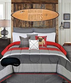 Teen Boys Bedding Modern Striped Rugby Gray Black Red FULL Comforter, Sheets, Bedskirt & Home Style Brand Sleep Mask Pc. Bed in a Bag Bundle) (Full) Teen Boy Bedding Sets, Boys Bedding Sets, Luxury Bedding Sets, Comforter Sets, King Comforter, Black Bedding, Bedroom Decor, Bedroom Red, Bedroom Ideas
