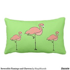 Reversible Flamingo and Chevron Lumbar Pillow