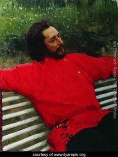 Portrait of writer Leonid Nikolayevich Andreyev (Summer break) - Ilya Efimovich Efimovich Repin - www.ilyarepin.org