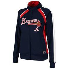 FOR ALI: Majestic Atlanta Braves Ladies Great Play Track Jacket - Navy Blue
