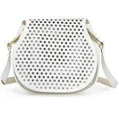 Cynthia Rowley Summer Leather Crossbody Bag (350 PEN) ❤ liked on Polyvore featuring bags, handbags, shoulder bags, crossbody handbag, white handbags, leather cross body purse, leather purses and leather shoulder bag