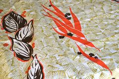 Vintage Fabric  Mid Century Tropical Print  Cotton by pumpkintruck