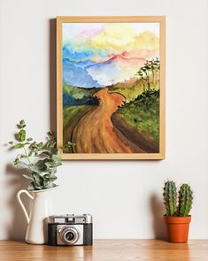 Watercolor Art Paintings, Nature Paintings, Painting Art, Watercolour, Uganda, Printable Wall Art, Landscape Design, Serenity, Wall Art Prints