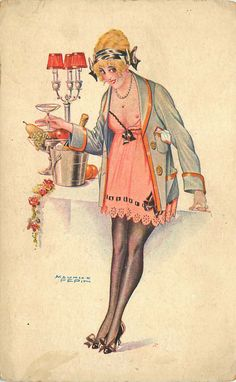 Maurice Pepin postcard, c.1920s Looks like a perfectly lovely party to me!    The blonde in the pic.