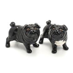 Black Pug Ceramic Figurine Statue Handmade Decoration Gift 00005