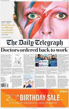 David Bowie - Cover of The Daily Telegraph - January 12 2016