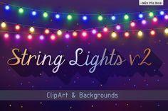 wedding invitation, digital paper, bokeh, fairy lights clipart, wedding…