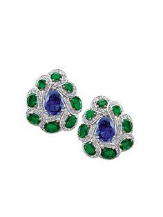 Emeralds, diamonds and tanzanites set in 18K white gold earrings