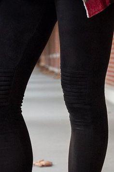 Black Suede Moto Leggings
