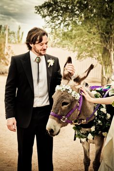 Decorated Donkey, and the groom wore a bolo tie.  So perfect for this barn style wedding!