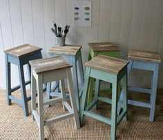 Couldnt love these french modern country/rustic kitchen stools more! Get them from Rustic Coast Furniture. Home Decor Kitchen, Rustic Kitchen, Country Kitchen, Kitchen Furniture, Rustic Furniture, Painted Furniture, Wooden Kitchen, Painted Bar Stools, Rustic Bar Stools