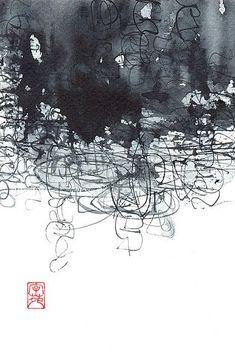Silvia Cordero Vega, zen series, watercolour, Japanese ink, cola pen on fabriano watercolour paper. - Google Search