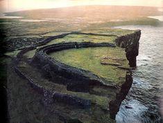 Dun Aonghasa, Innishmore, Aran Islands, Ireland. An ancient celtic promontory fort 300 feet over the sea.