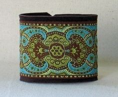 Leather And Ribbon Cuff  In Boho Brown And by BaroqueAndRollCuffs, $16.00