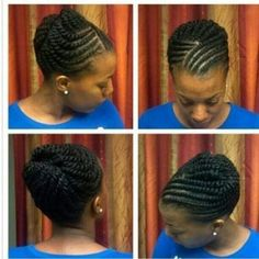 Protective style braided updo