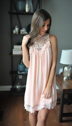 Bright Peach Crochet Neckline Dress - Dottie Couture Boutique