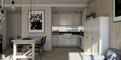 Salon połączony z kuchnią w stylu skandynawskim. - zdjęcie od ZELER-DESIGN - Kuchnia - Styl Skandynawski - ZELER-DESIGN