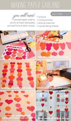 Instructions for Paper Heart Garland  (printable on ellinee.com)