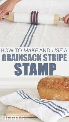 How to make a grain sack stripe stamp - no more taping off those lines!