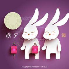 Stáhnout - Měsíc králíci polovině podzimní festival — Stocková ilustrace #49567707