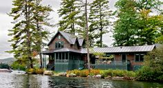 Lake House - Rustic - Exterior - burlington - by Smith & Vansant Architects PC Rustic Exterior, Cottage Exterior, Exterior Design, Exterior Paint, Lake Cabins, Cabins And Cottages, Style At Home, Cabana, Cabin Design