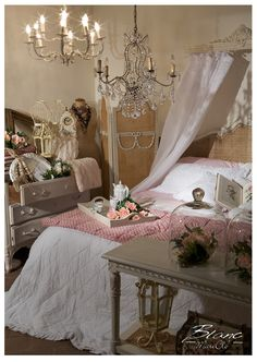 shabby and chic Blanc Mariclo bedroom in pink and white colors